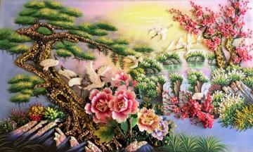 Tranh đá quý Tổ Ấm Hạnh Phúc Mùa Xuân ĐT02-01