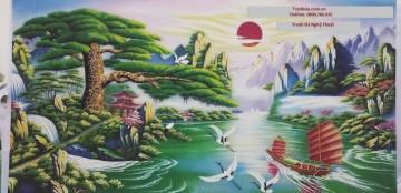 Tranh đá quý Thuận buồm xuôi gió tăng vận may