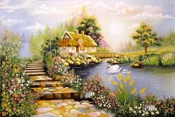 Tranh Đá Quý Ngôi nhà bên suối ĐT 03 – 07