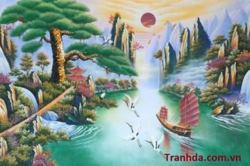 Tranh Phong Thủy Đá Quý Tùng Nghênh Khách