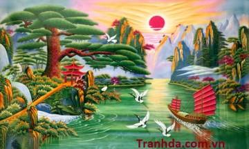 Bán Tranh Phong Thủy Đá Quý Tùng Nghênh Khách