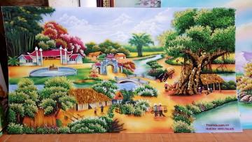 Tranh đá quý Đồng quê Thanh Bình ĐT1-02