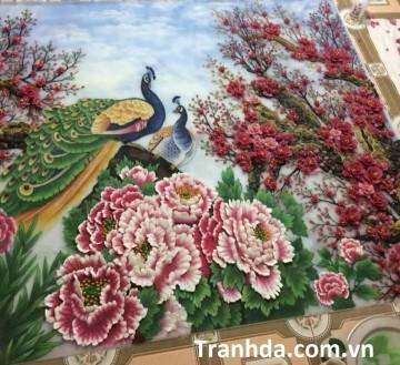 Tranh Đá Quý Cao Cấp 3D Công Đào Chào Xuân